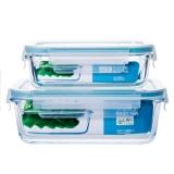贝特阿斯(BestHA)耐热玻璃保鲜盒两件套(400ml+800ml) 烤箱 冰箱 微波炉适用饭盒RL2-01
