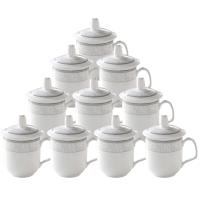 泥火匠 茶杯 陶瓷 中号盖杯10只装 1187花 300ml 带盖开会杯 商务会议办公杯套装