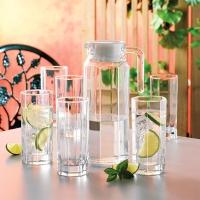 乐美雅(Luminarc)法国弓箭玻璃杯凉水壶果汁杯水杯八角1.1L雪柜樽水具七件套21134