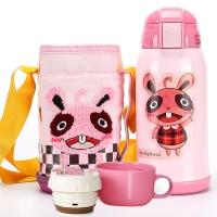 杯具熊 兒童保溫杯帶吸管 兒童水杯學生寶寶水壺男女 不銹鋼嬰兒保溫壺 升級款 600ml 粉色小兔