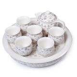 金镶玉 功夫茶具 黄金叶套组 景德镇陶瓷茶盘茶壶茶杯整套