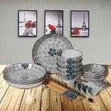 根因陶瓷 日韩式餐具套装20头手绘日式餐具创意日式碗盘家用陶瓷餐具碗碟套装礼盒装
