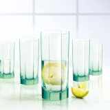 乐美雅(Luminarc)玻璃杯冷饮杯八角凝彩直身杯28CL(冰绿)六只装 J5856