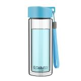 富光 耐熱防燙便攜提手水杯 男女士時尚 透明雙層玻璃杯 天藍色 280ml (G1311-280)