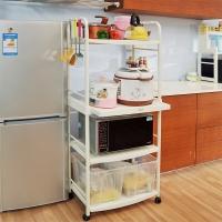 寶優妮 微波爐架子廚房置物架落地四層儲物架移動餐車推車烤箱架子收納架DQ1209