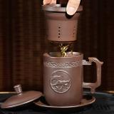 言藝 茶具水杯宜興原礦紫砂《馬到成功》四件套紫砂茶杯