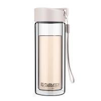 富光 耐热防烫便携提手水杯 男女士时尚 透明双层玻璃杯 米白色 280ml (G1311-280)