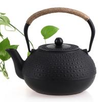 品茶忆友 功夫茶具 茶壶仿日本铁壶泡茶壶煮茶壶功夫茶壶铸铁茶壶铜盖 雨点1.8L