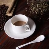 乐享  陶瓷咖啡杯碟套装 欧式咖啡具 一杯一碟送一勺纯白