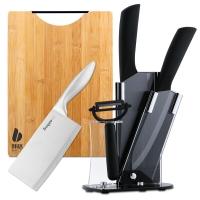 拜格BAYCO刀具套装6件套黑刃陶瓷刀碳化竹砧板不锈钢菜刀套刀组合CJTZ-913