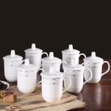 樂享 陶瓷馬克蓋杯8只裝 商務會議辦公茶杯水杯子套裝青蓮