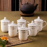 乐享 茶杯陶瓷中号盖杯6只装商务会议办公水杯马克杯子青莲