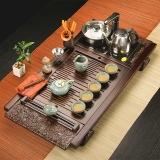 金镶玉 功夫茶具套装 闻香品茶套组 实木茶盘陶瓷茶壶茶杯公道杯泡茶炉整套