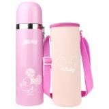 迪士尼 保温杯 男女士乐趣子弹头不锈钢儿童便携水杯子500ML粉色 送杯套