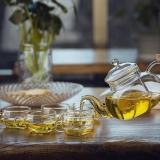 洁雅杰玻璃茶具套装 带过滤耐热玻璃泡茶壶7件套(1茶壶+6茶杯)直火玻璃红茶茶具套装 YGE-6806