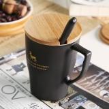 樂享 創意描金動物磨砂陶瓷水杯黑色馬克杯子咖啡單杯套裝帶蓋帶勺