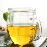 品茶忆友 玻璃茶具 茶杯耐热玻璃杯水杯茶漏茶滤三件杯 p-05凝露杯 450ml