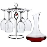 青苹果红酒具11件套装 杯子*6+醒酒器+杯架+开瓶器+瓶塞+杯刷