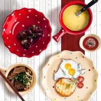 西芙Siv.Heike 陶瓷可爱早餐具套装 布丁沙拉碗盘套装 波点时尚 红色 5件套