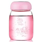 邦达便携创意玻璃杯耐热带盖随手杯子可爱透明水杯送杯套 粉色 360ml