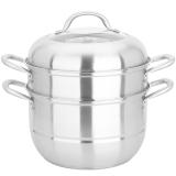 美厨(maxcook)不锈钢二层蒸锅 26CM复底 雅银系列 MCZ-177 加厚 蒸煮两用 可用电磁炉