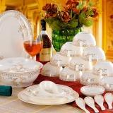 乐享景德镇骨瓷餐具56头韩式餐具套装 碗碟套装天鹅湖