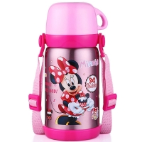 迪士尼 Disney 保温杯 儿童不锈钢真空水杯子男女学生大容量畅饮便携保温壶 600ML 米妮粉