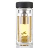洁雅杰玻璃杯 双层耐热玻璃(450ml)大容量茶杯带过滤茶隔水杯子5208-450