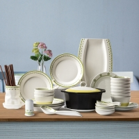 亿嘉IJARL 韩式创意家用陶瓷碗盘碟子46头餐具套装结婚乔迁送礼 格林