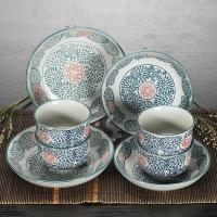 山田烧陶瓷餐具套装 日式餐具釉下彩(8头)和风碗碟餐具套装 古塘草