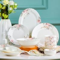 乐享餐具套装56头景德镇韩式创意家用碗盘碗碟套装 金粉世家