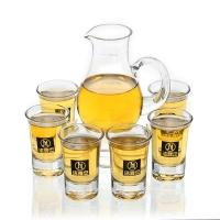 洁雅杰分酒器套装带刻度(150ml)玻璃白酒分酒壶+6支玻璃白酒吞杯7件套酒杯套装