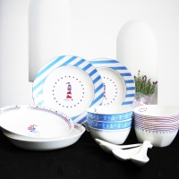 迪奥百合 地中海航行 骨瓷餐具12件家庭经济套装