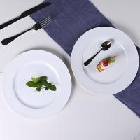 乐享 纯白骨瓷10英寸圆西餐盘2个装浅盘西餐牛排盘