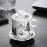 洁雅杰茶杯 陶瓷带过滤茶漏4件套茶杯带盖大容量陶瓷茶杯 山水