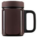 万象(WANXIANG)I27P 420ML紫砂内胆茶杯 男士商务办公泡茶杯 带茶漏滤网带手柄 棕木灰