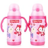 美国费雪保温杯 儿童吸管水杯子男女学生不锈钢水壶两用套装送背带400ML粉红