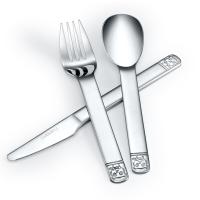 路卡酷(LUCUKU)304不锈钢牛排刀叉勺三件套 儿童熊仔西餐餐具礼盒装