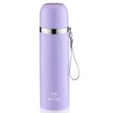 邦达不锈钢子弹头真空保温户外旅行带提绳水杯子 紫色 500ml