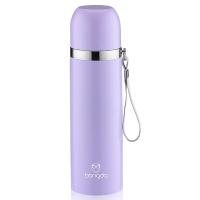 邦達不銹鋼子彈頭真空保溫戶外旅行帶提繩水杯子 紫色 500ml