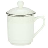 泥火匠 茶杯 陶瓷 如意6号盖杯 350ml 带盖开会杯 商务会议办公杯