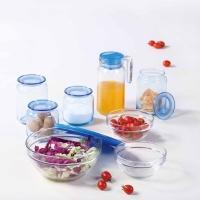 乐美雅(Luminarc)玻璃沙拉碗储物罐水具蓝色魔厨多功能9件套装 J3284