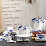 红叶 碗碟套装26头青花釉中彩骨瓷餐具套装中式 国色