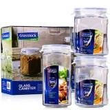 三光云彩glasslock韩国进口玻璃储物罐保鲜盒收纳罐密封罐 三件套/IG534