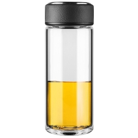 万象(WANXIANG)U3 460ML单层时尚玻璃杯 商务男女士水杯 创意便携泡茶杯 冷酷黑