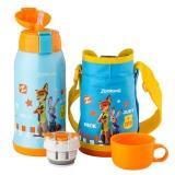 迪士尼(Disney)疯狂动物城儿童保温杯不锈钢带吸管男女水杯子蓝色狐狸尼克550ml送杯套