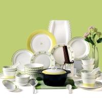 亿嘉IJARL 韩式创意家用陶瓷碗盘碟子56头餐具套装结婚乔迁送礼 格林