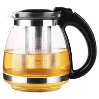 紫丁香1.5L大容量无铅耐热玻璃茶壶功夫茶具304不锈钢过滤内胆泡茶壶