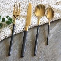 迪奥百合 金柄不锈钢西餐刀叉勺四件套礼盒