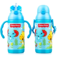 美国费雪保温杯 儿童吸管水杯子男女学生不锈钢水壶两用套装送背带400ML蓝色